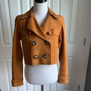 Burberry Brit Cropped Suede Leather Trench